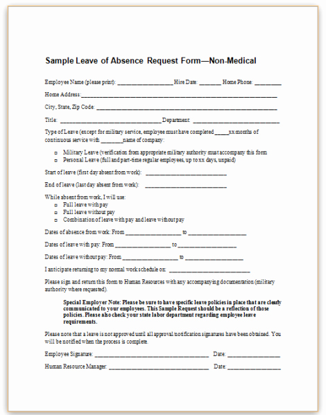Leave Request forms Templates Lovely This Sample form for Employee Leave Of Absence Requests
