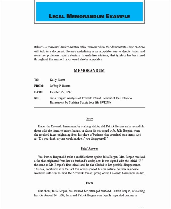 Legal Memorandum Template Word Elegant Sample Legal Memo 7 Documents In Pdf Word Google Docs