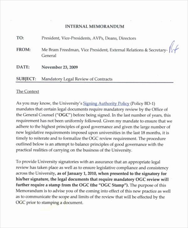 Legal Memorandum Template Word Inspirational Sample Legal Memo 7 Documents In Pdf Word Google Docs