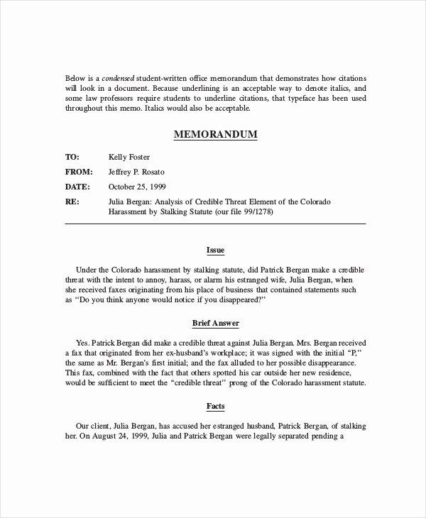 Legal Memorandum Template Word Luxury Free 12 Legal Memo Examples & Samples In Pdf