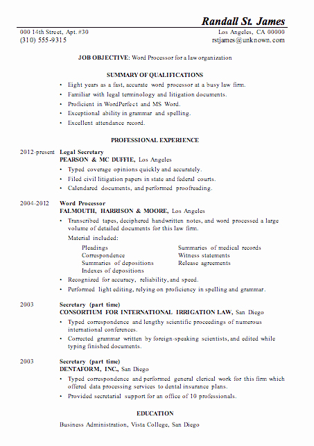 Legal Resume Template Word Beautiful Resume Sample Word Processor for Law Firsm