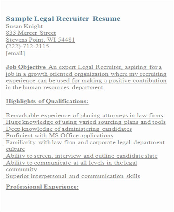 Legal Resume Template Word Best Of Legal Resumes 7 Free Word Pdf format Download