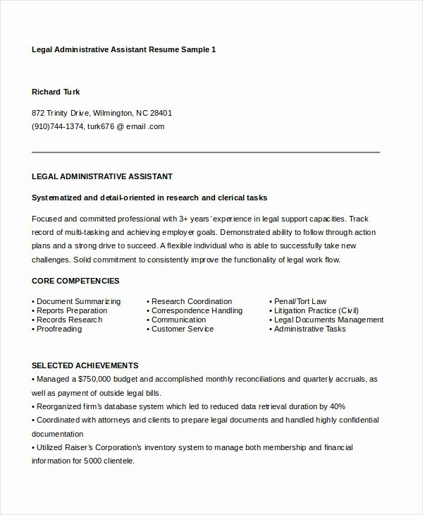 Legal Resume Template Word Elegant Administrative assistant Resume 16 Free Word Pdf Psd