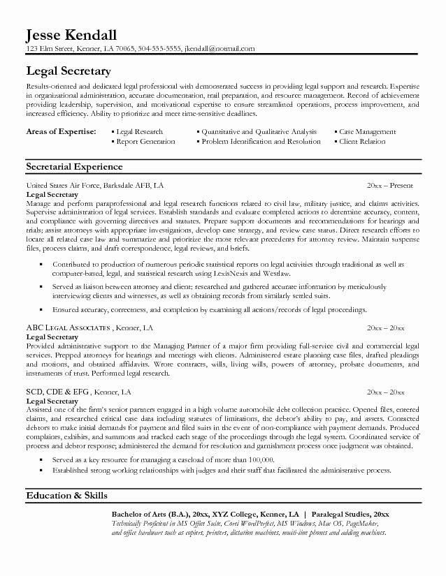 Legal Resume Template Word Fresh Legal Resumes Legal Secretary Resume Sample Law