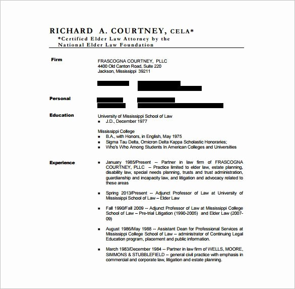 Legal Resume Template Word New Lawyer Resume Template – 10 Free Word Excel Pdf format