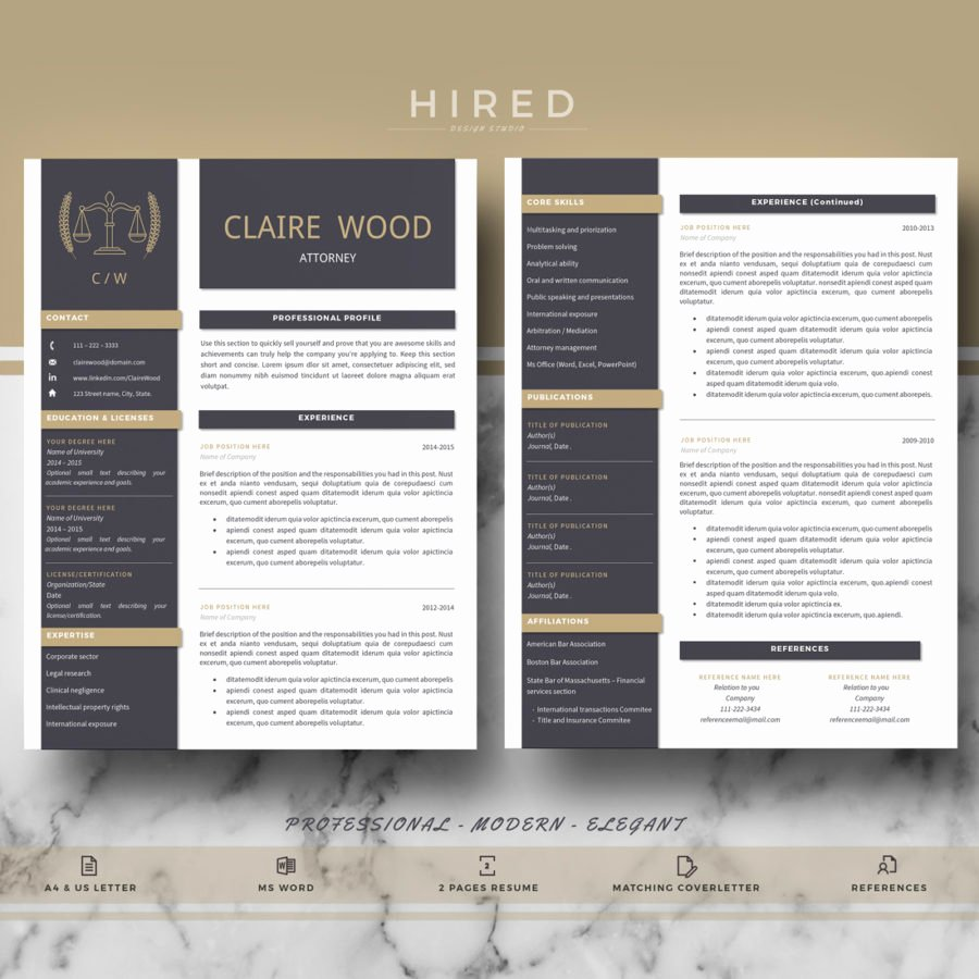 """Legal Resume Template Word New Legal Resume Template for Ms Word """"claire"""" Hired Design"""