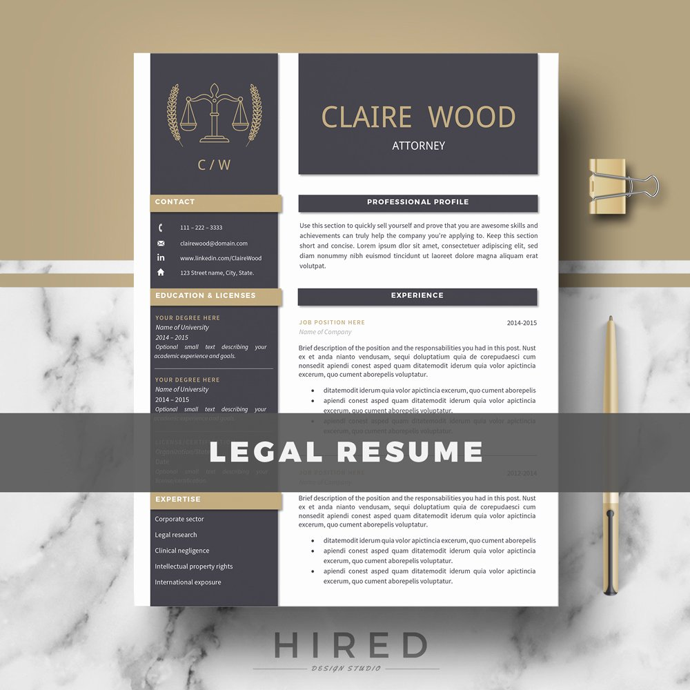 Legal Resume Template Word New Resume Templates Hired Design Studio