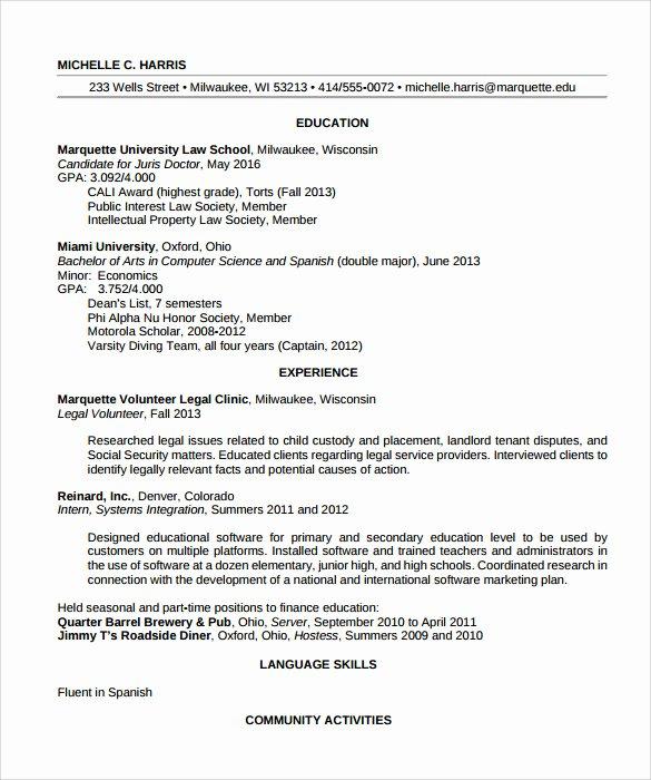 Legal Resume Template Word Unique Sample Legal Resume Template 13 Free Documents In Pdf Word