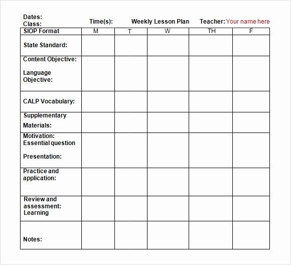 Lesson Plan Template Doc Elegant Free 7 Sample Weekly Lesson Plans In Google Docs