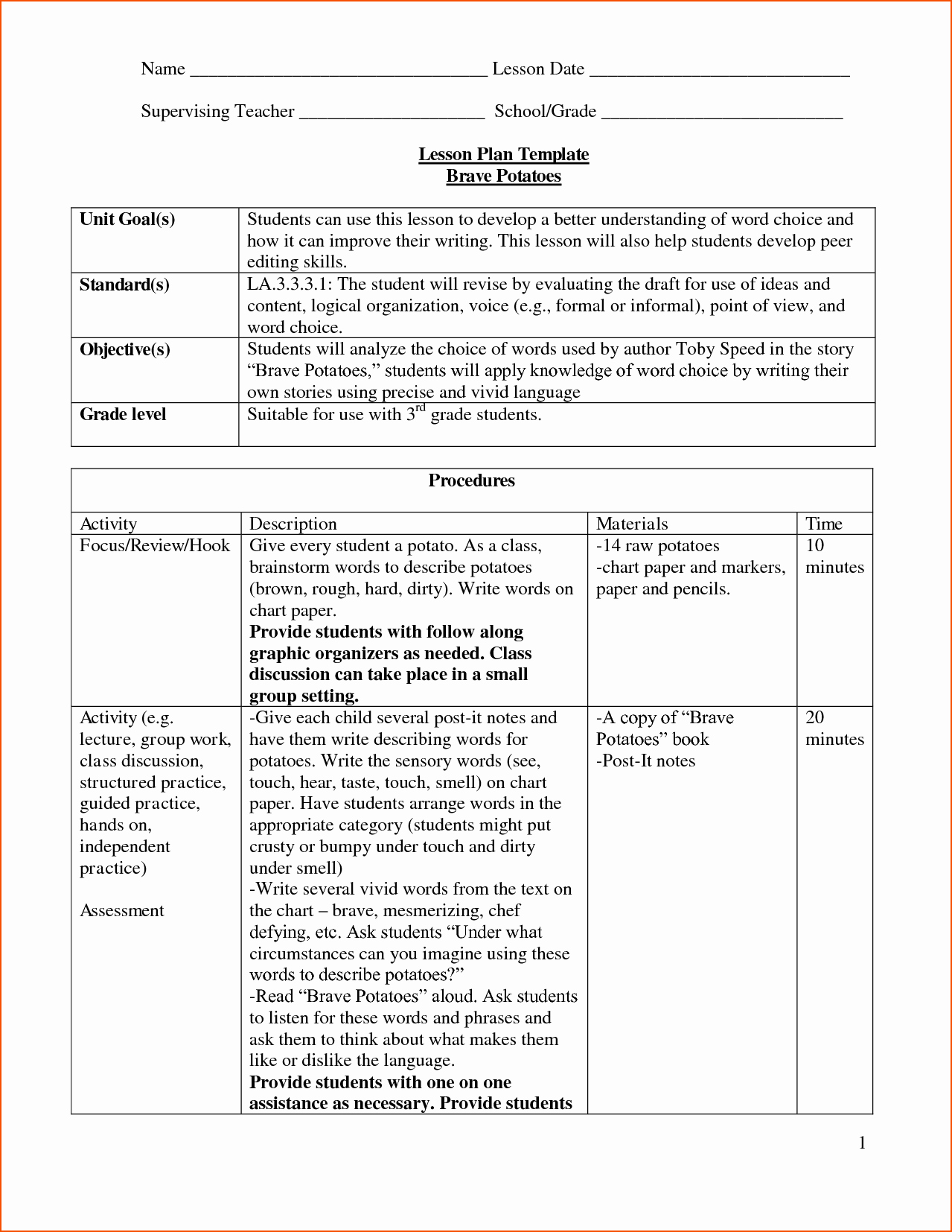 Lesson Plan Template Doc Lovely 8 Lesson Plan Template Doc Bookletemplate