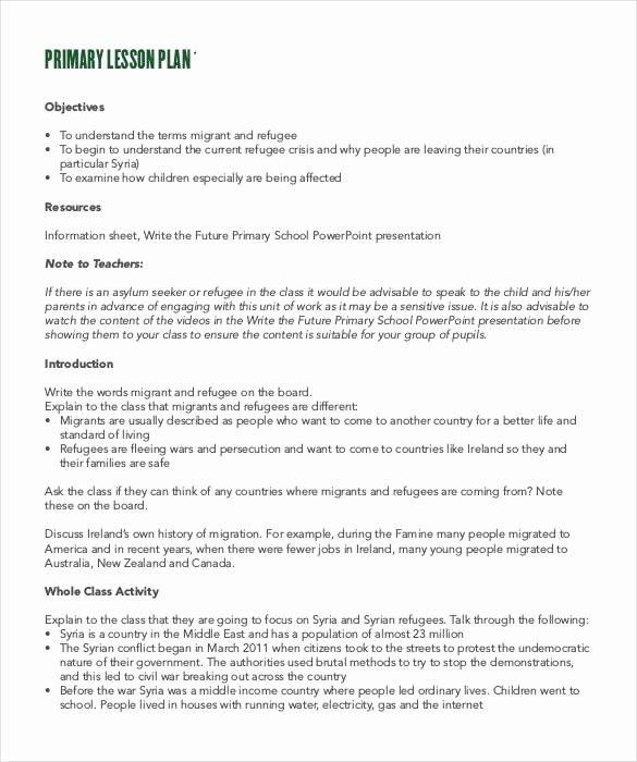 Lesson Plan Template Doc Unique Lesson Plan format Primary School