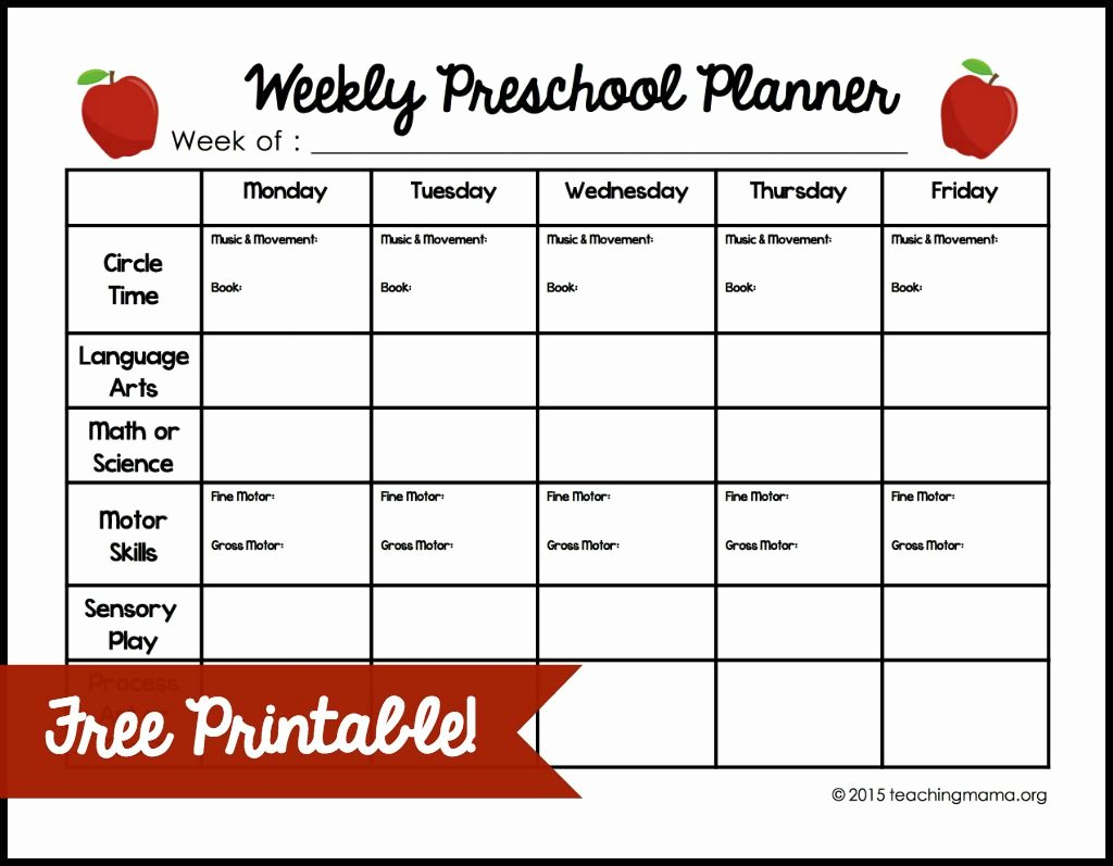 Lesson Plan Template for Preschool Awesome Weekly Preschool Planner