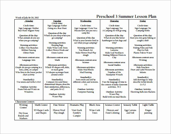 Lesson Plan Template for Preschool Elegant Preschool Lesson Plan Template 11 Free Pdf Word format