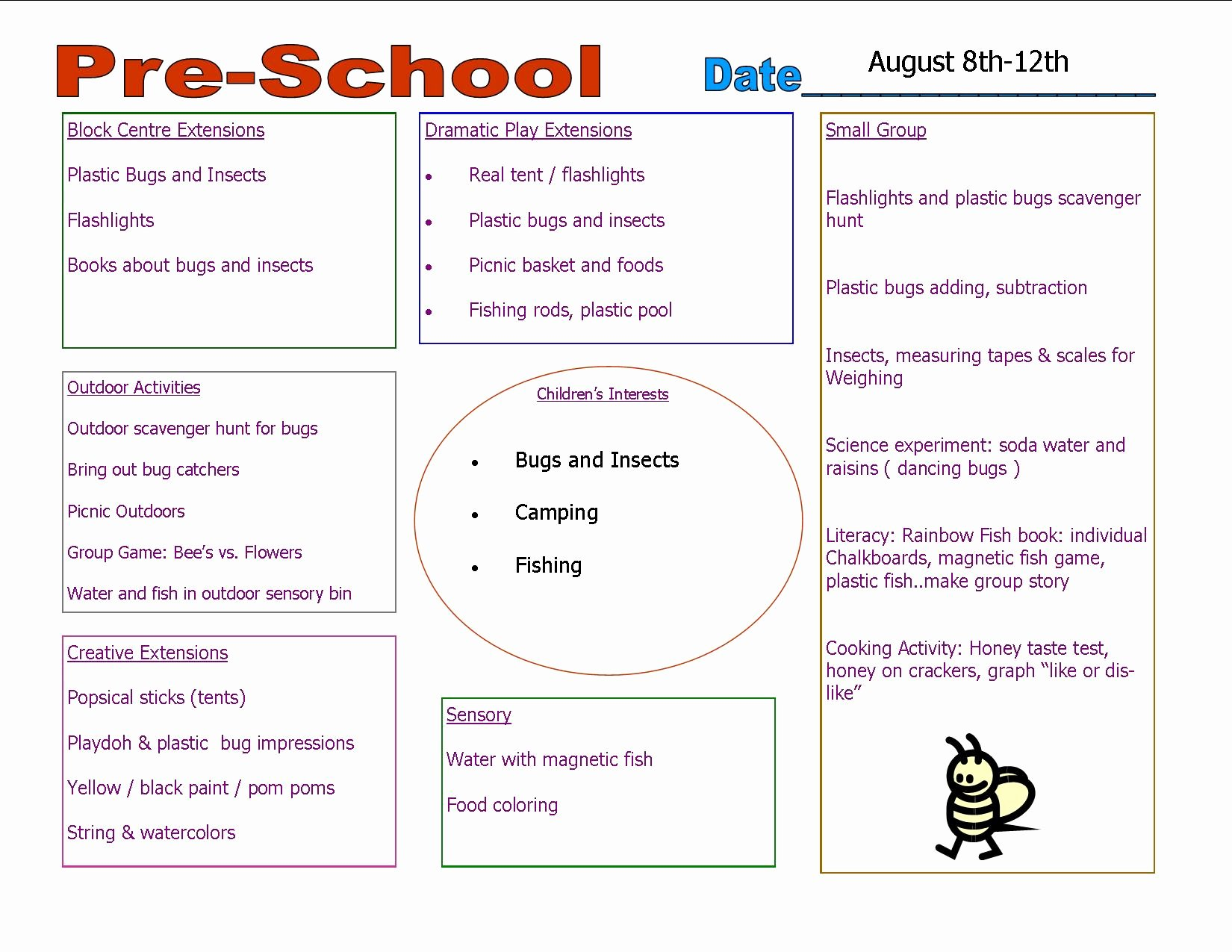 Lesson Plan Template for Preschool Fresh Preschool