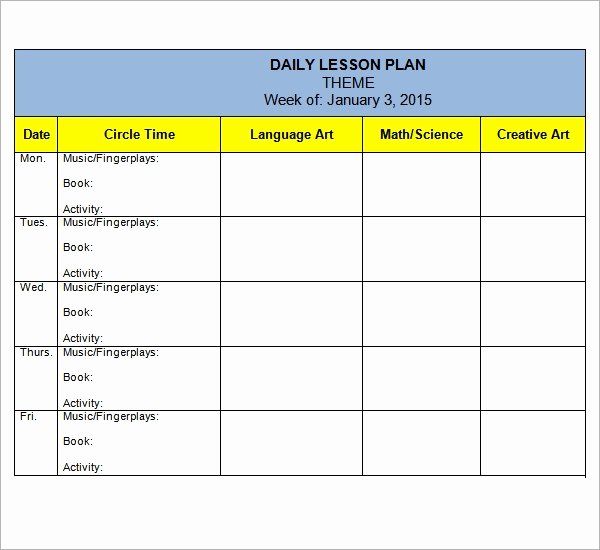 Lesson Plan Template for Preschool Inspirational Free 10 Sample Preschool Lesson Plan Templates In Google