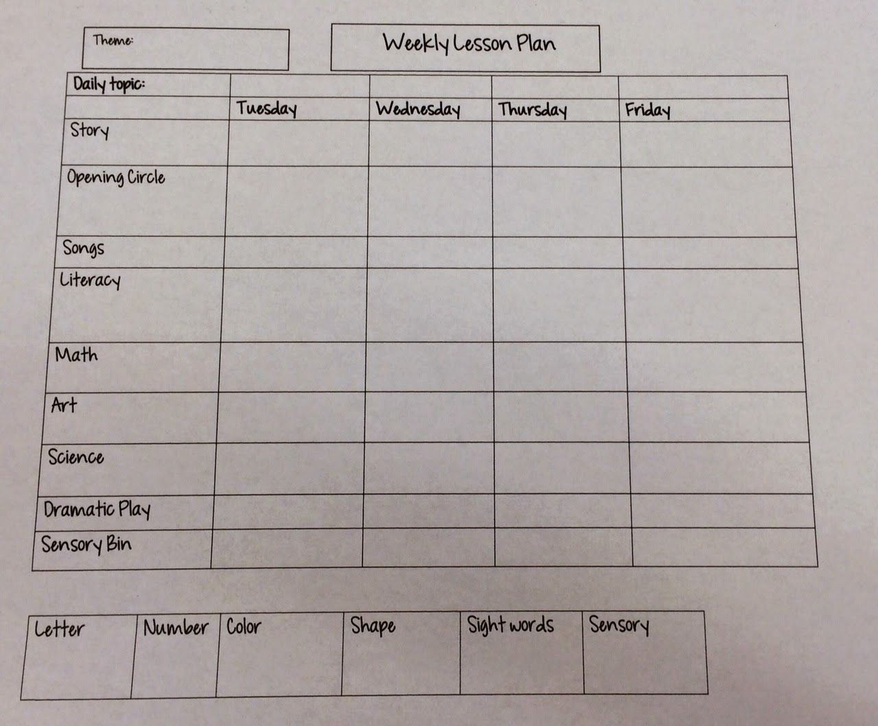 Lesson Plan Template for Preschool Lovely Miss Nicole S Preschool Weekly Lesson Plan Template