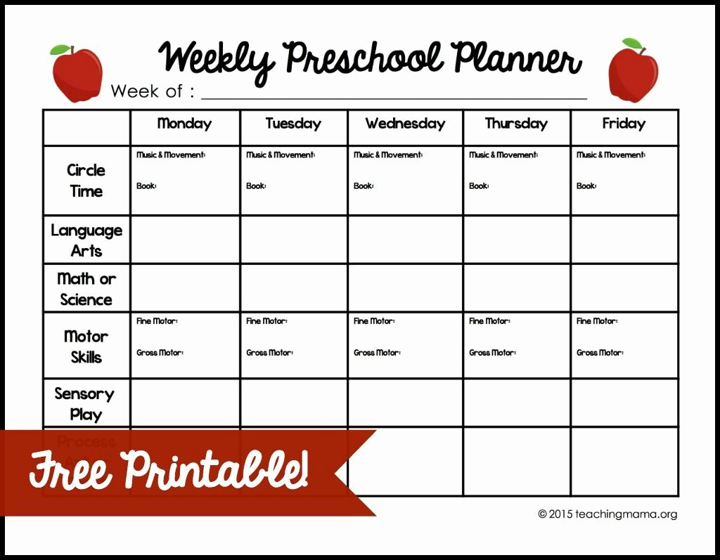 Lesson Plan Template for toddlers Fresh Weekly Preschool Planner
