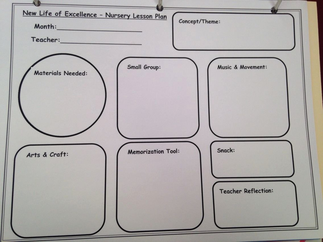 Lesson Plan Template for toddlers Lovely 2 S & 3 S Lesson Plan Template for Children S Church
