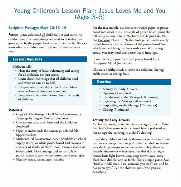 Lesson Plan Template for toddlers Luxury Sample toddler Lesson Plan 8 Documents In Pdf Word