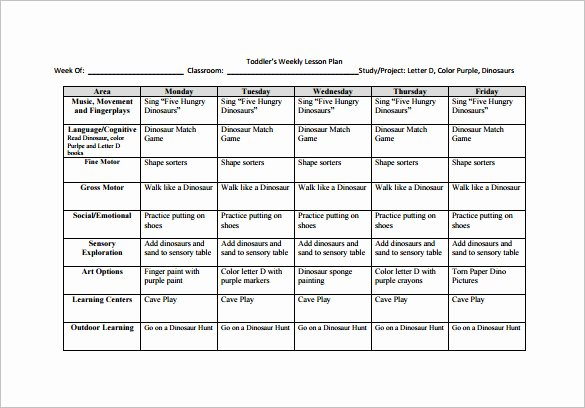 Lesson Plan Template for toddlers New toddler Lesson Plan Template 9 Free Pdf Word format