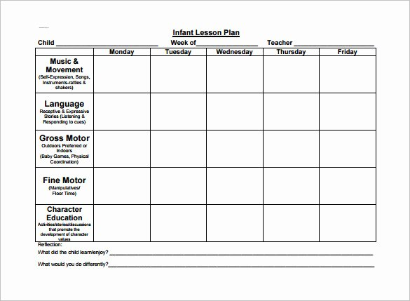 Lesson Plan Template for toddlers Unique toddler Lesson Plans Free
