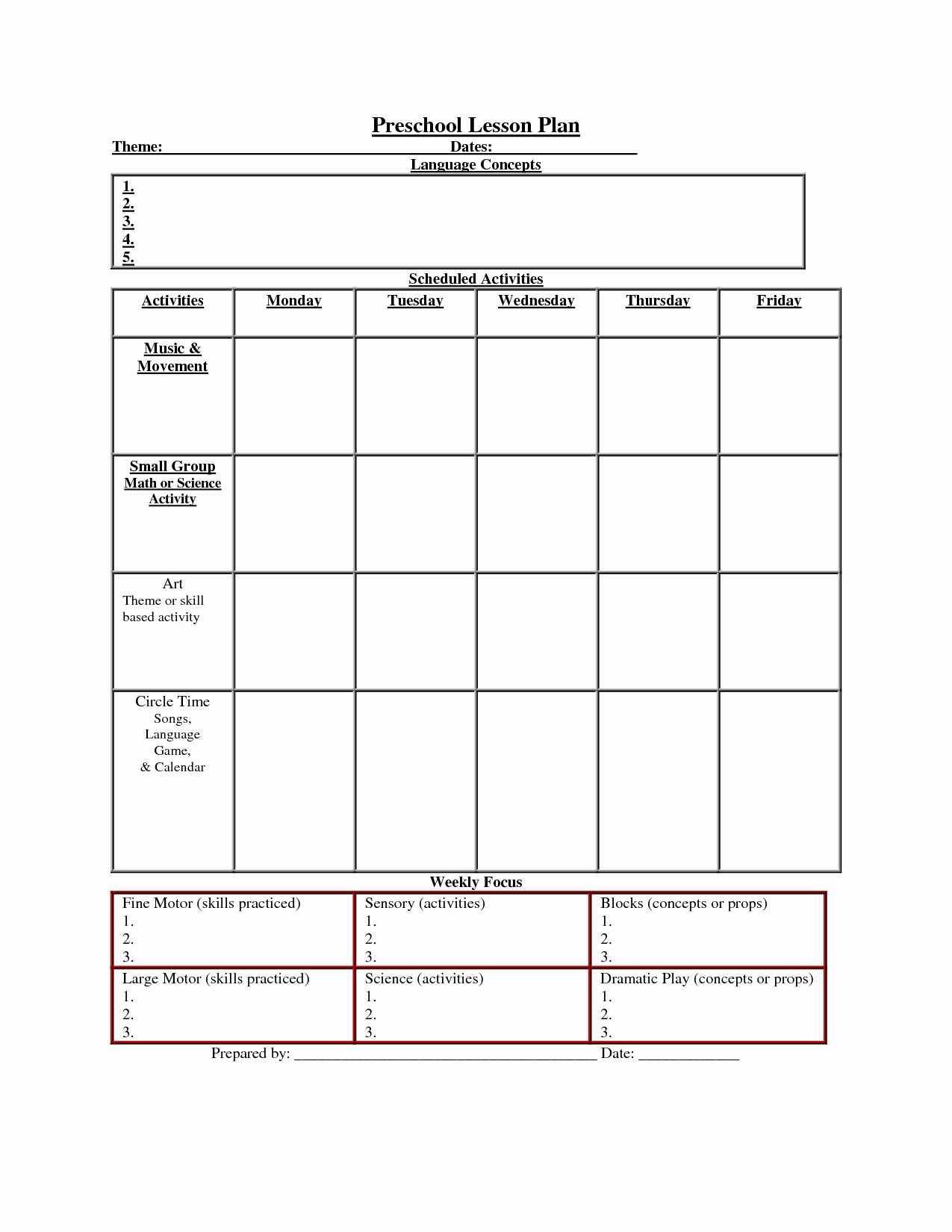 Lesson Plan Template Preschool Fresh Printable Lesson Plan Template Nuttin but Preschool