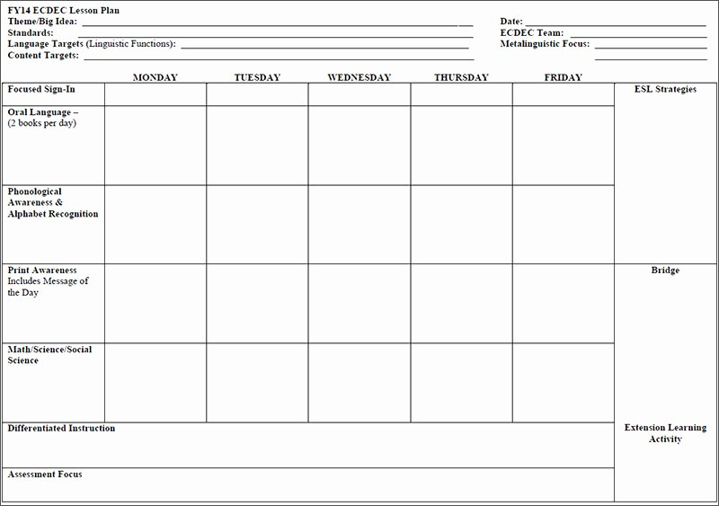 Lesson Plan Template Preschool Inspirational 7 Preschool Lesson Template Free Word Excel Pdf formats