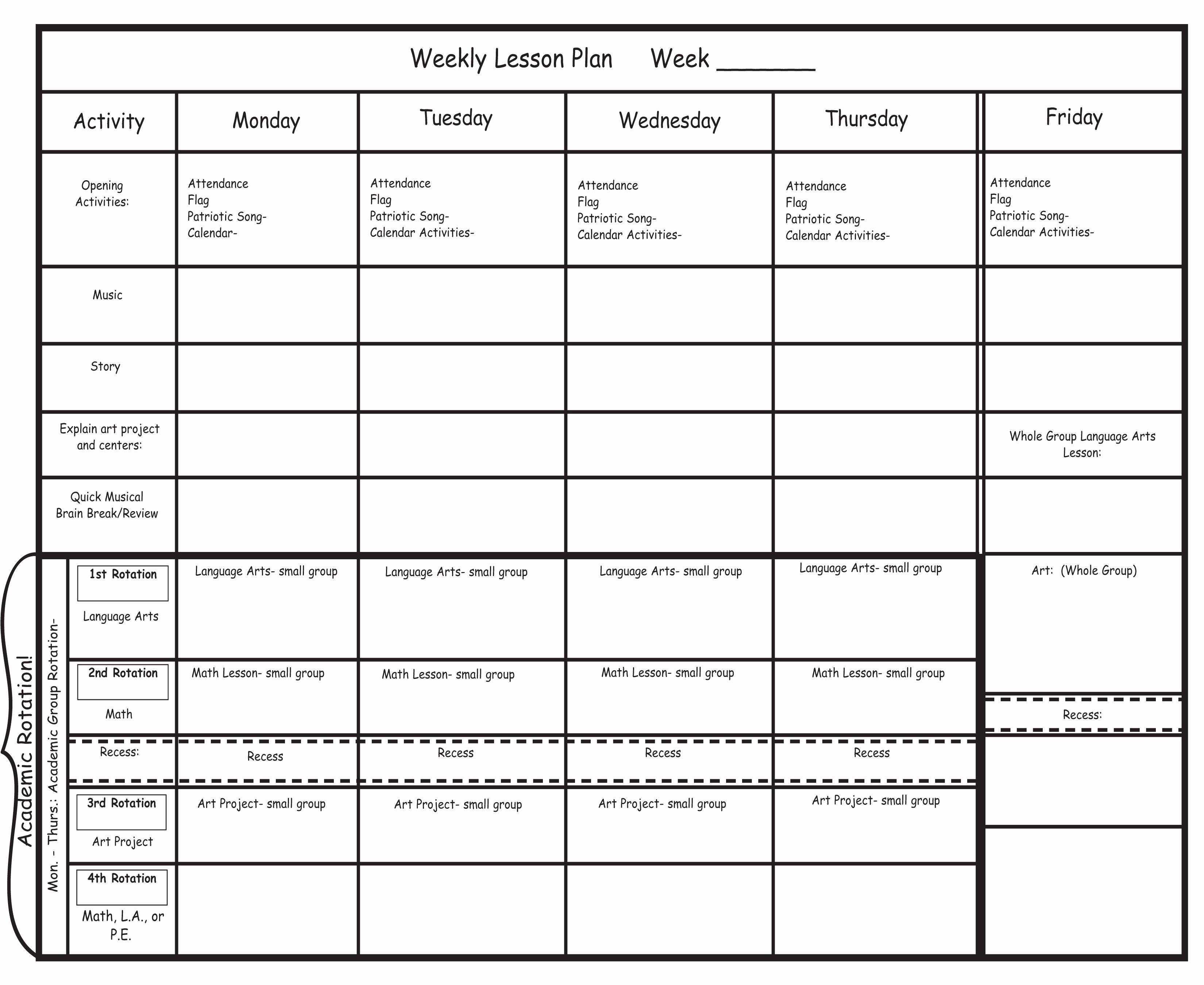 Lesson Plan Templates for Kindergarten Elegant Blank Preschool Lesson Plan Template Pdfkindergarten