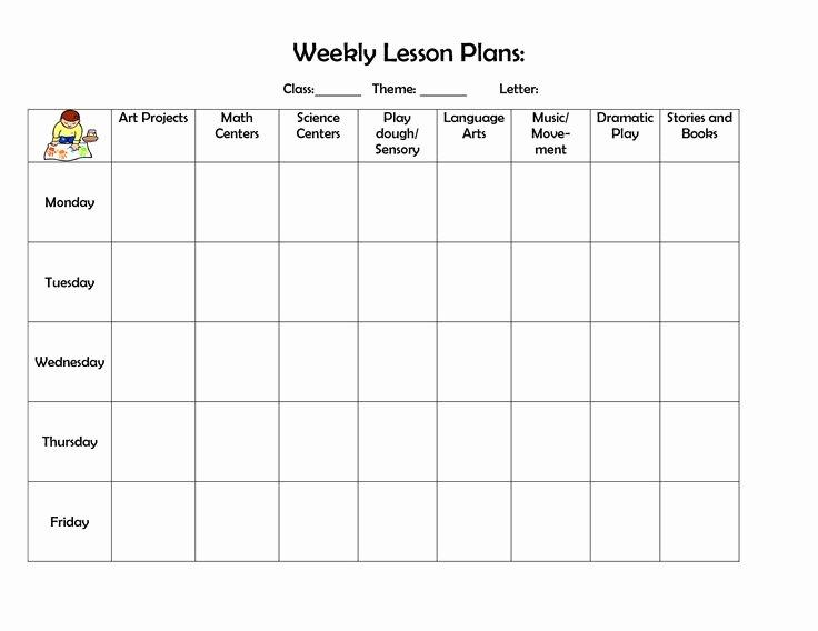 Lesson Plan Templates for Kindergarten Fresh Infant Blank Lesson Plan Sheets