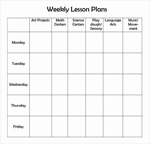 Lesson Plan Templates for Kindergarten Inspirational Free Printable Weekly Lesson Plan Template …