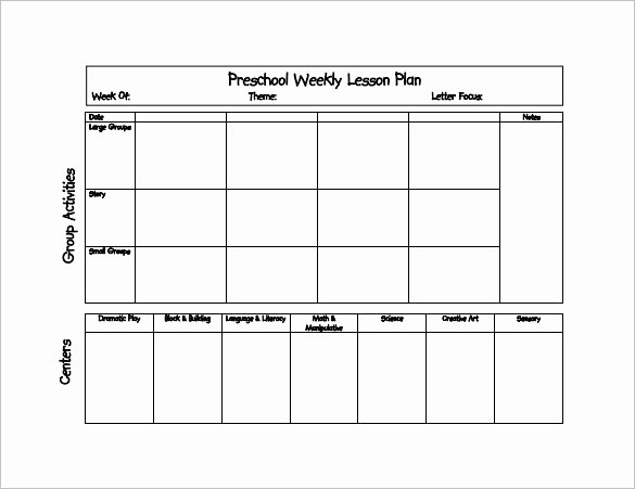 Lesson Plan Templates Preschool Unique Preschool Lesson Plan Template 11 Free Pdf Word format