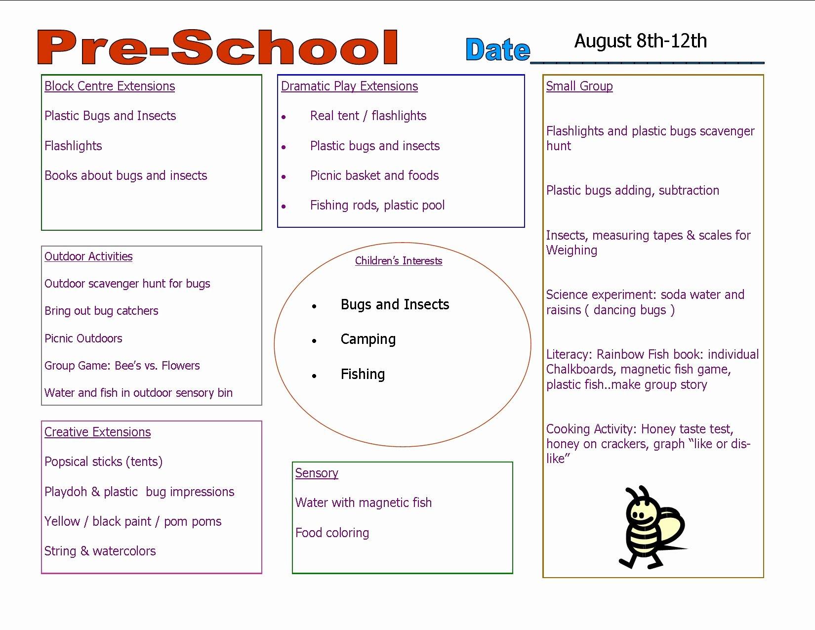 Lesson Plans Templates for Preschool Elegant Preschool