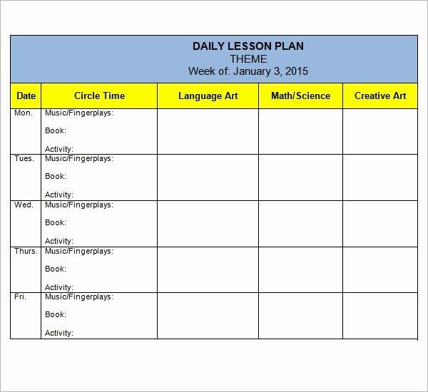 Lesson Plans Templates for Preschool Lovely Free 10 Sample Preschool Lesson Plan Templates In Google