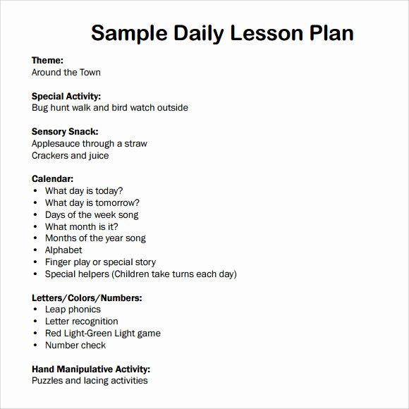 Lesson Plans Templates for toddlers Beautiful Sample Daily Lesson Plan 8 Documents In Pdf Word