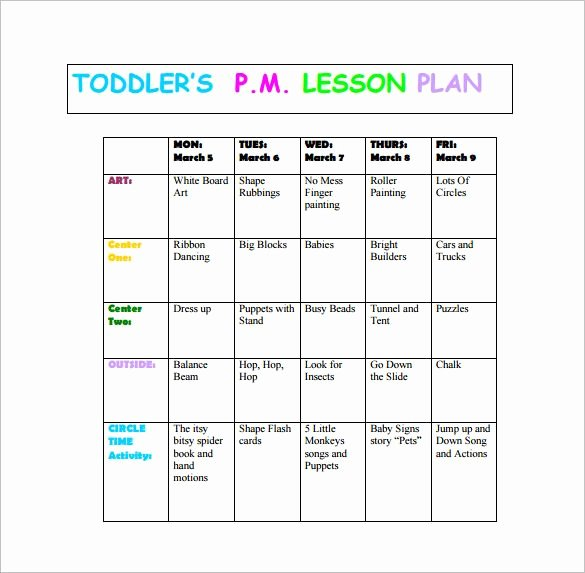 Lesson Plans Templates for toddlers Fresh toddler Lesson Plan Template – 10 Free Word Excel Pdf