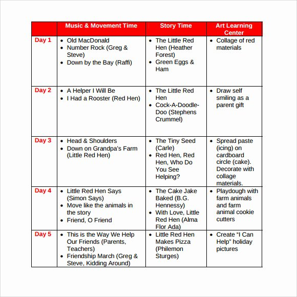Lesson Plans Templates for toddlers New toddler Lesson Plan Template
