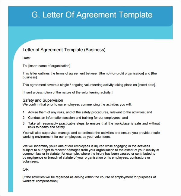 Letter Of Agreement Template Beautiful Free 16 Letter Of Agreement Templates In Pdf