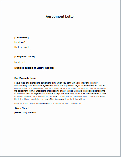 Letter Of Agreement Template Best Of Agreement Letter Template for Word