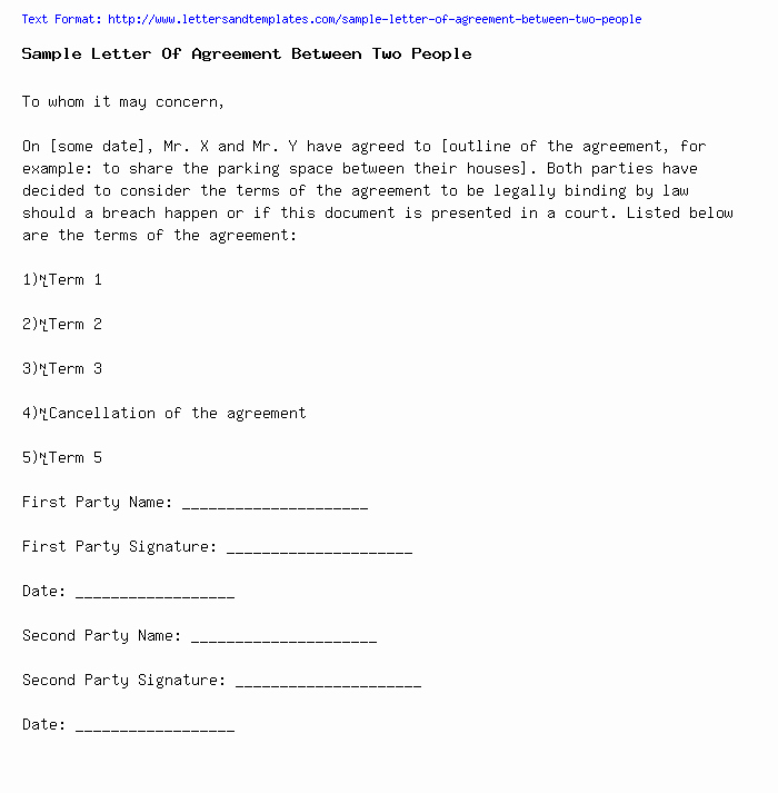 Letter Of Agreement Template Inspirational Sample Letter Agreement Between Two People