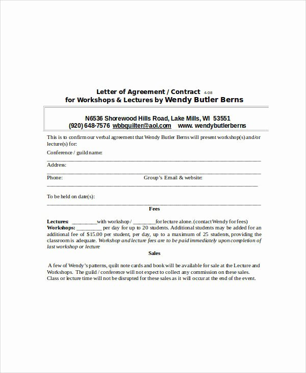 Letter Of Agreement Template Luxury 32 Sample Agreement Letters Word Pdf