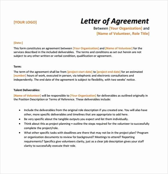 Letter Of Agreement Template Unique 12 Simple Agreement Letter Examples Pdf Word