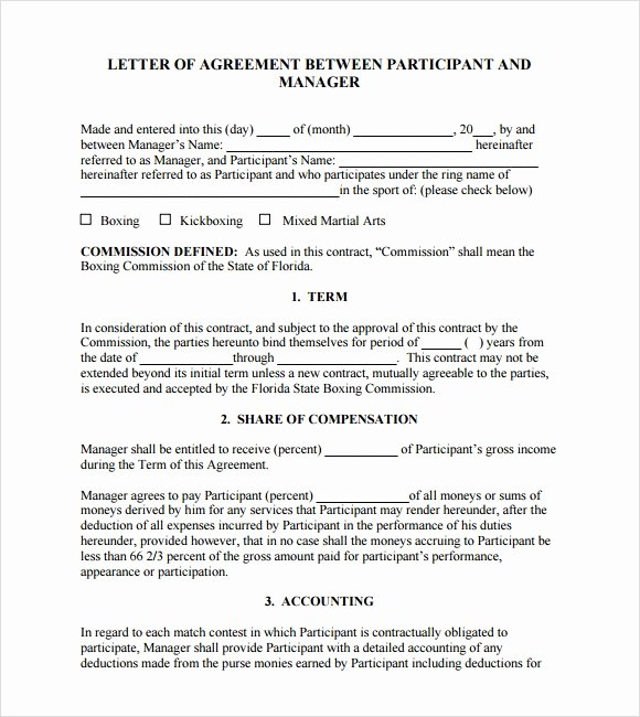 Letter Of Agreement Template Unique Sample Letter Of Agreement – 11 Example format
