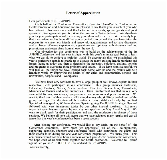 Letter Of Appreciation Template Fresh 11 Thank You Letter for Appreciation Pdf Doc