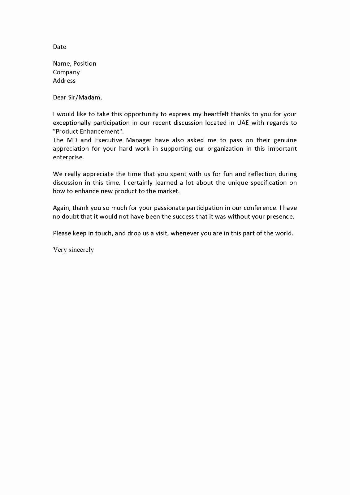 Letter Of Appreciation Template Inspirational Hr forms and Letters January 2011