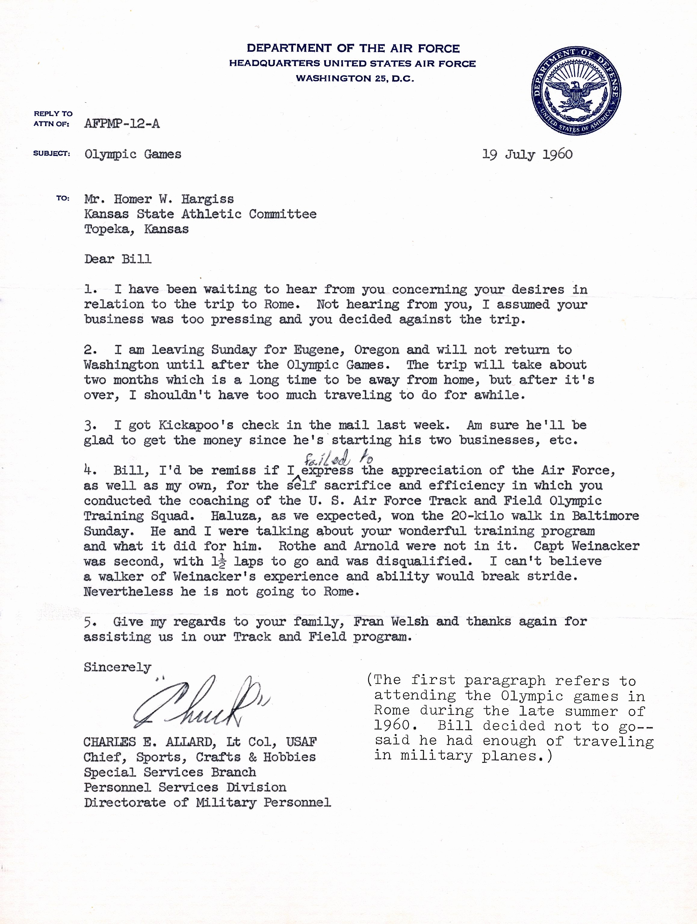 Letter Of Appreciation Template New Letter Of Appreciation From Usaf to Bill Hargiss 1960