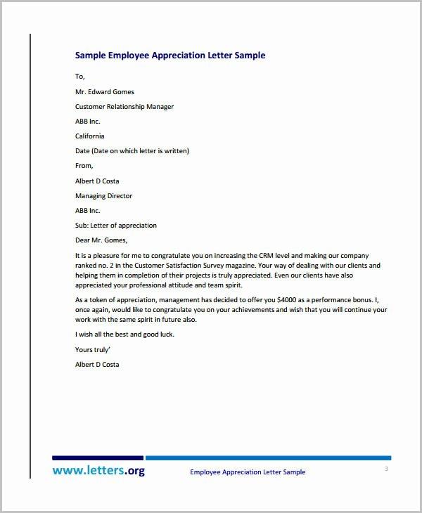 Letter Of Appreciation Template Unique 10 Appreciation Letter Templates to Employee Pdf Doc
