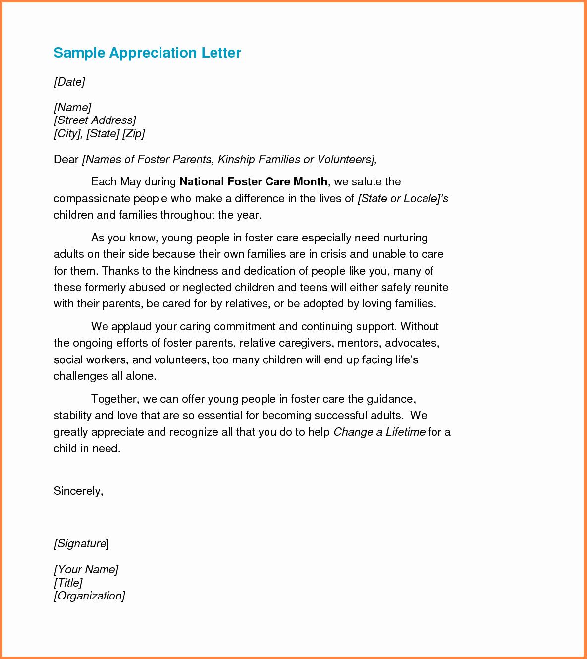 Letter Of Appreciation Template Unique Best S Of Samples Praise Appreciation Letters