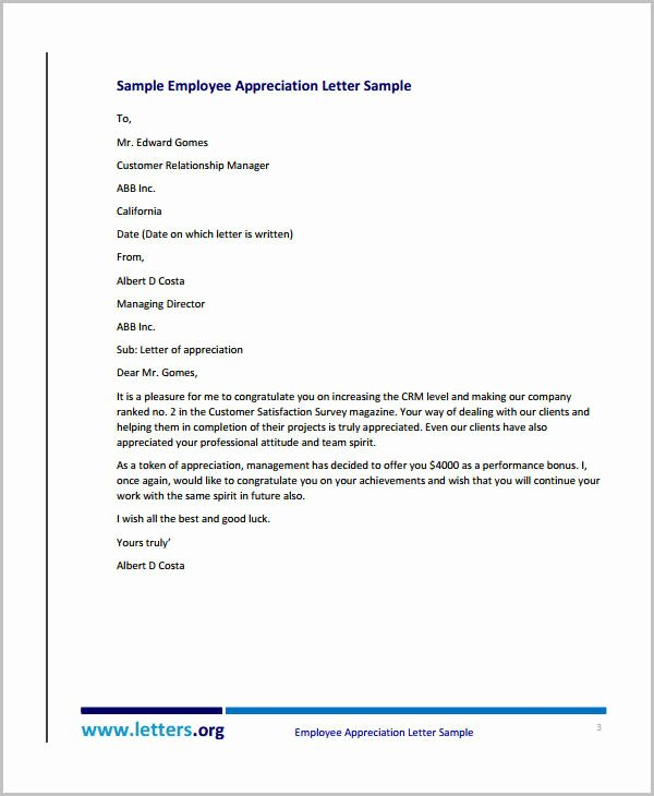 Letter Of Appreciation Templates Awesome 10 Appreciation Letter Templates to Employee Pdf Doc