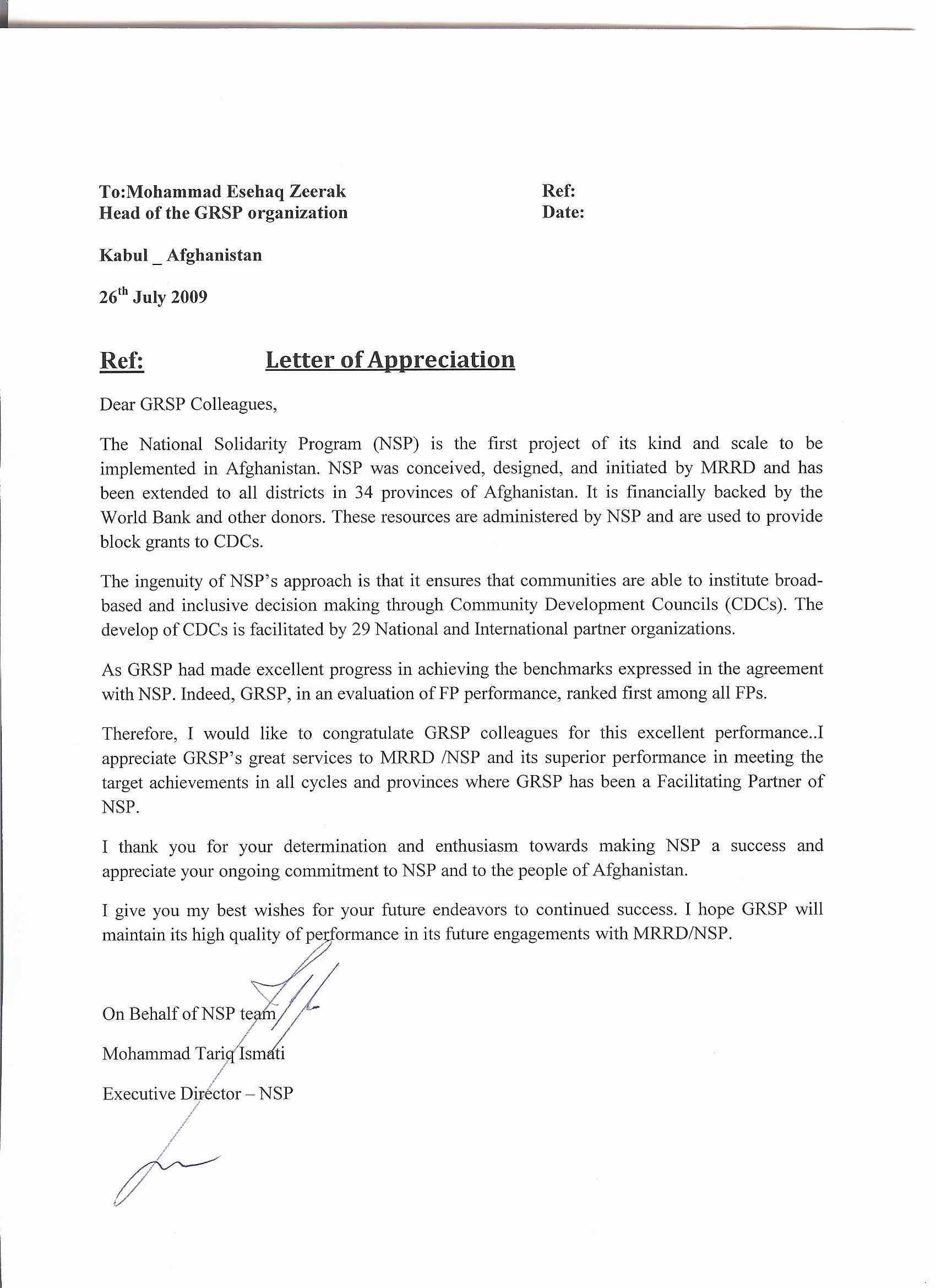 Letter Of Appreciation Templates Elegant 10 Free Sample Appreciation Letters Samplebusinessresume