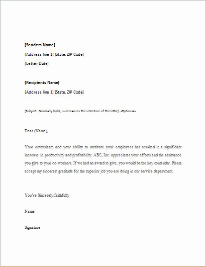 Letter Of Appreciation Templates Elegant Appreciation Letter Template for Word